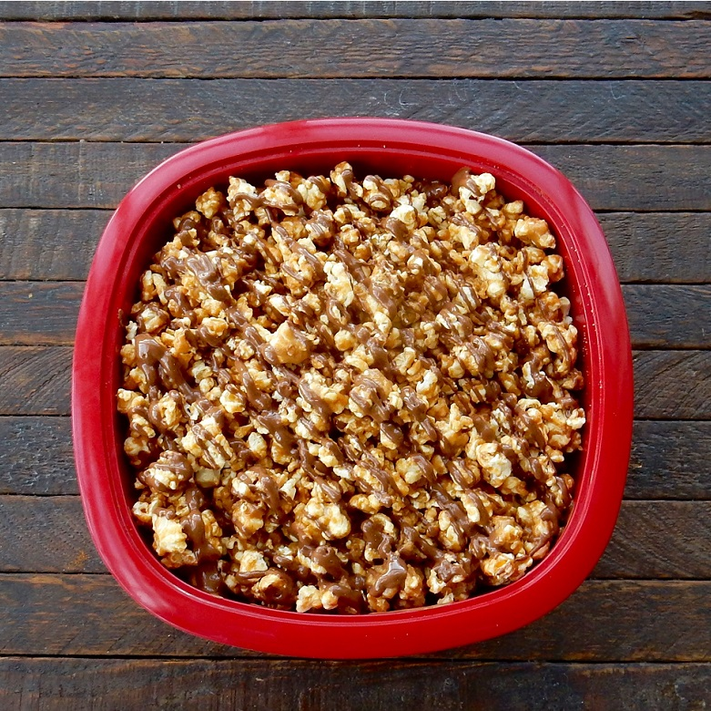 Honey Peanut Butter Popcorn with Chocolate Drizzle