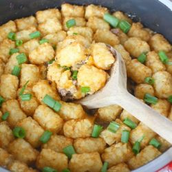 One Pot Minnesota Wild Rice Tator Tot Hotdish