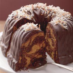 Chocolate-Coconut and Pumpkin Marble Bundt