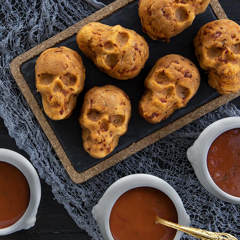 Cheesy Tomato Skull Bread