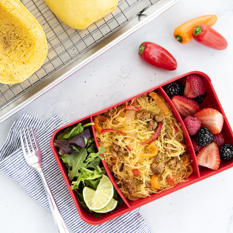 Roasted Spaghetti Squash with Sautéed Chorizo, Peppers, and Onion