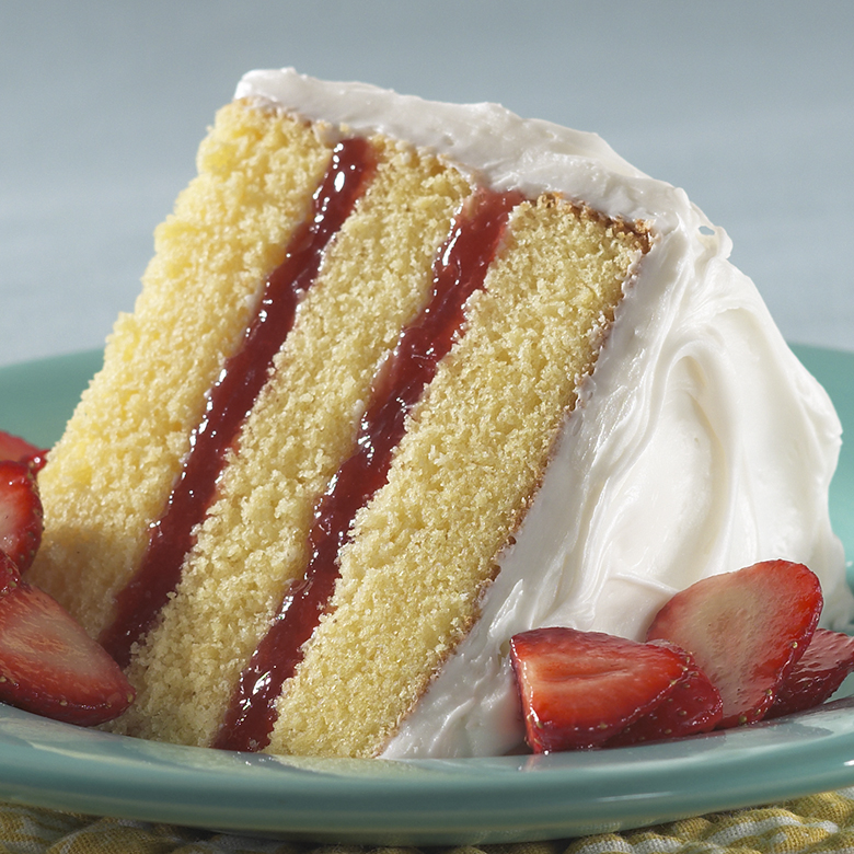 Triple Layer Lemon Cake with Strawberry Filling