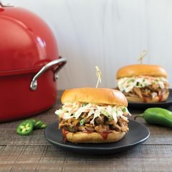 BBQ Smoked Pulled Pork Sandwiches with Jalapeño Coleslaw